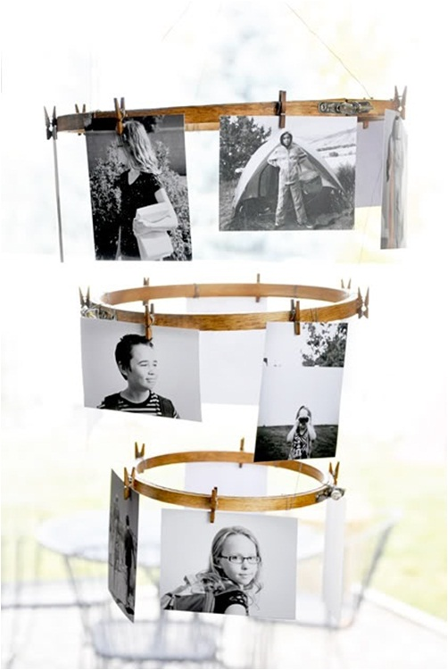 clothespins craft ideas family photos wood emroidery rings