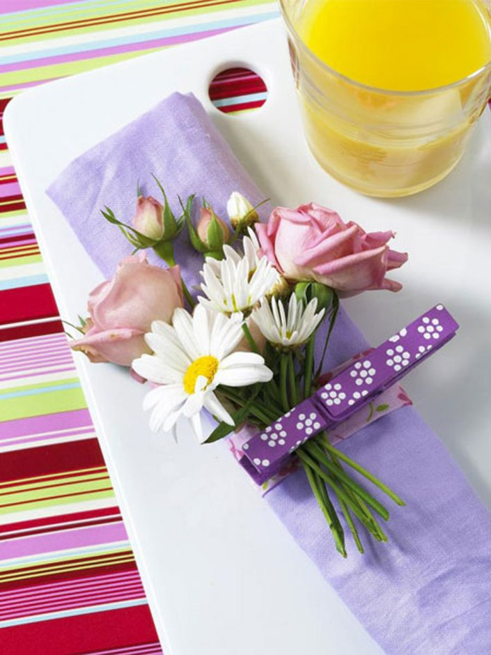 crafts clothespins decorating ideas flowers napkin