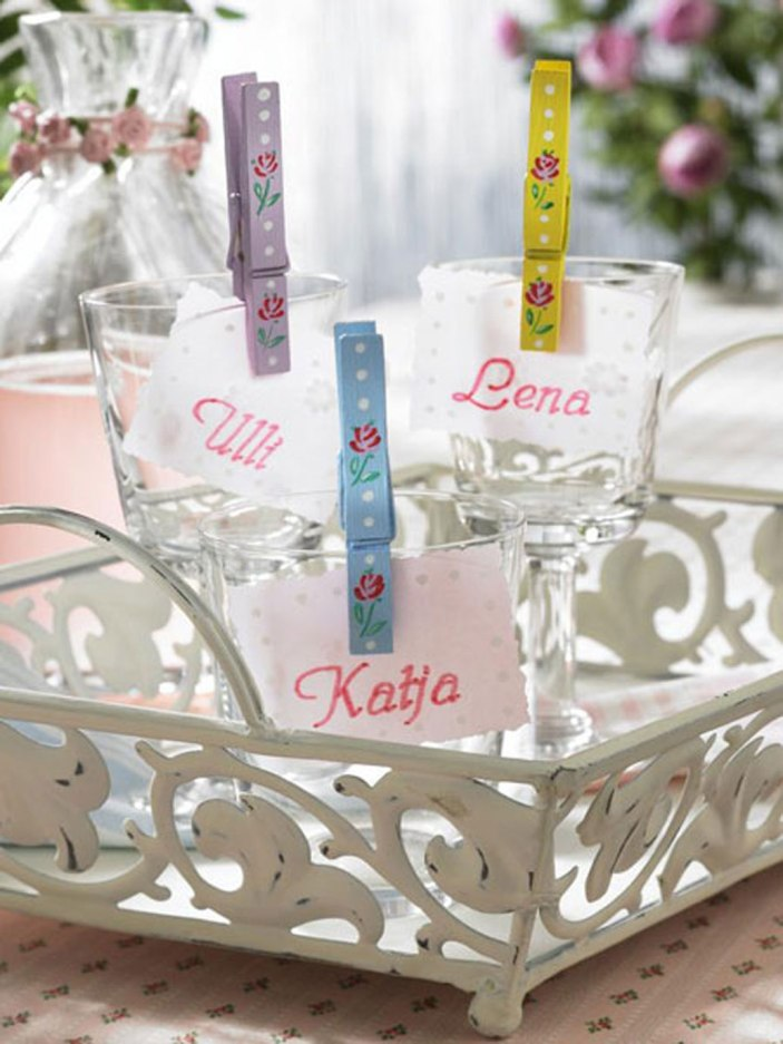 crafts clothespins name tags party glasses