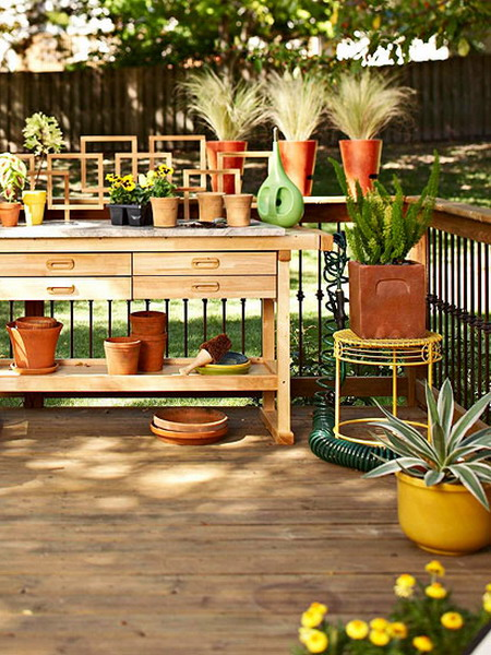 deck design ideas side table wood stone countertop gardening