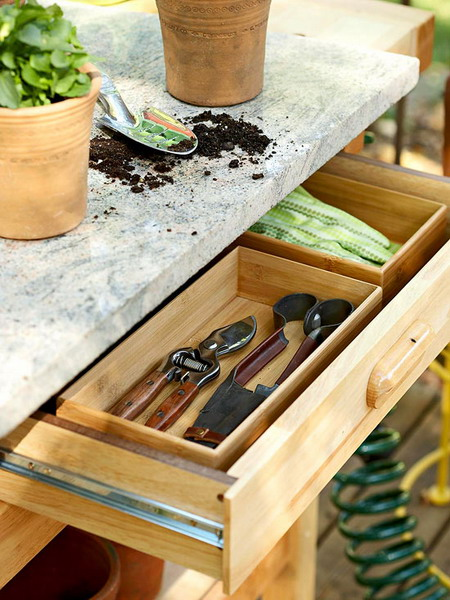 deck decorating ideas wooden table gardening tools drawer
