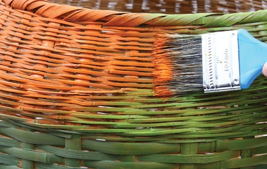 decorate old wicker clothes hamper orange green paint