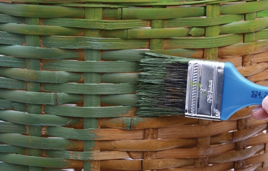decoration wicker clothes basket paint green hues