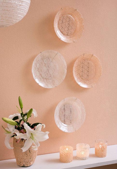 decorative wall plates hanging lace fabric decoupage glass