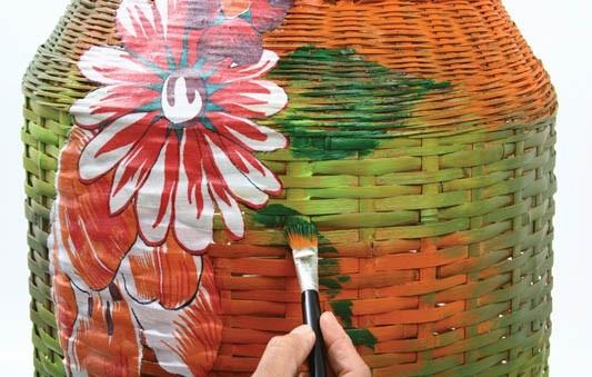 decoupage decorate wicker clothes basket flowers