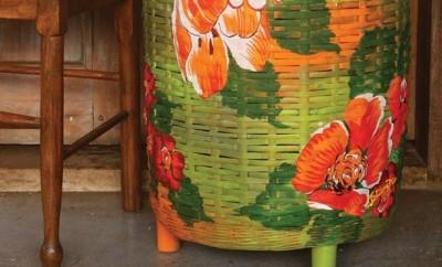 decoupage-wicker-clothes-basket-green-orange-flowers