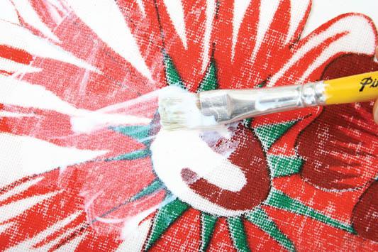 decoupage with fabric wicker basket white glue pva