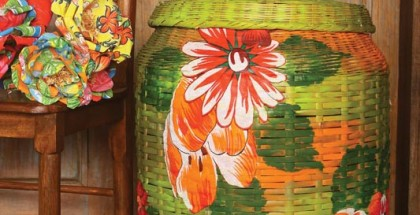 decoupage-with-fabric-wicker-clothes-basket-green-orange-flowers
