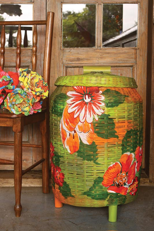 decoupage with fabric wicker clothes basket green orange flowers furniture