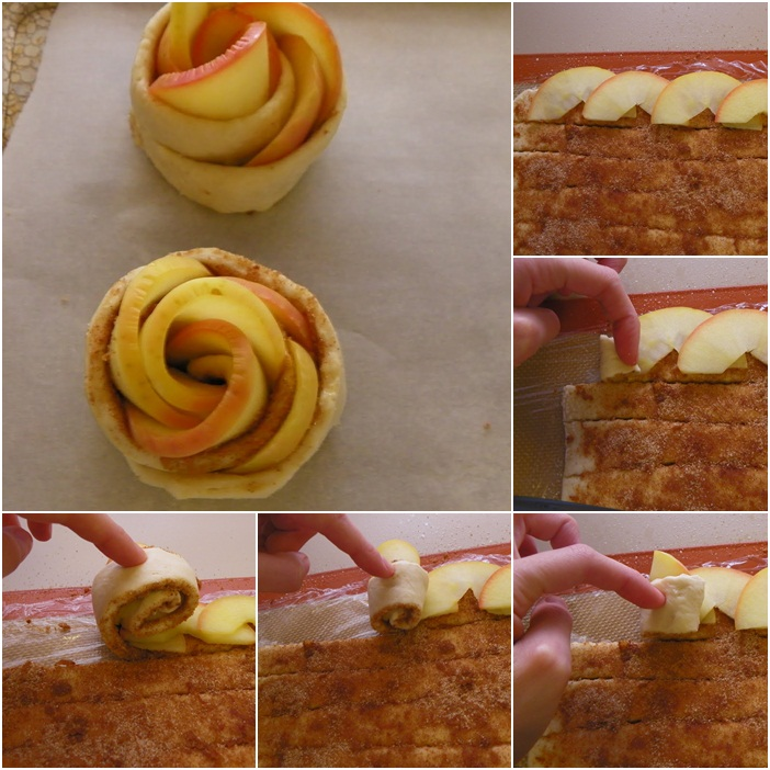diy apple roses tarts dough slices rolling