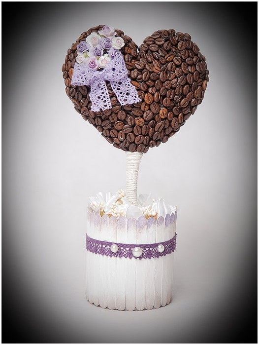 diy birthday gift ideas coffee beans heart topiary