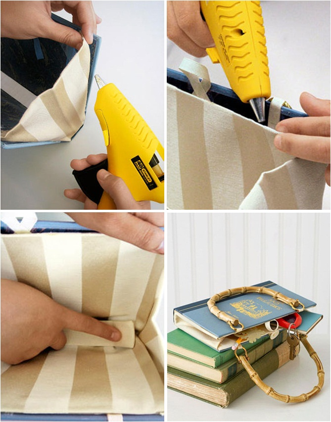 diy book cover bag handles gift idea book lovers