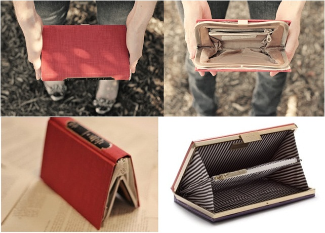 diy book clutch purse gift idea hardcover