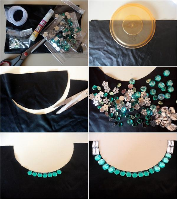 diy collar necklace green white gems crystals tutorial