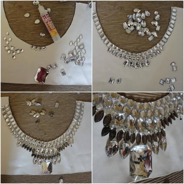 collar collar de bricolaje pedrería blanca patrón de pegamento