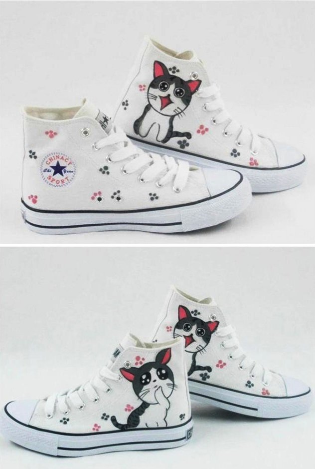 diy converse shoes makeover ideas kitten paws drawing