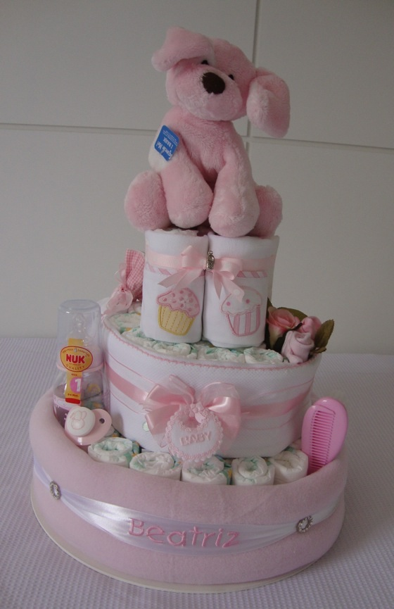 diy diaper cake idea baby girl puppy toy pink