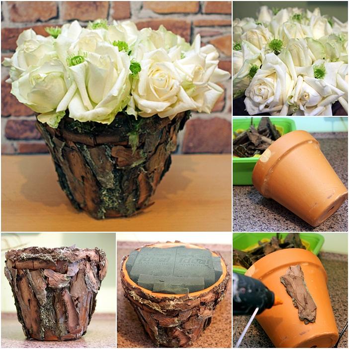 diy flower arrangement ideas white roses tree bark clay pot decorations