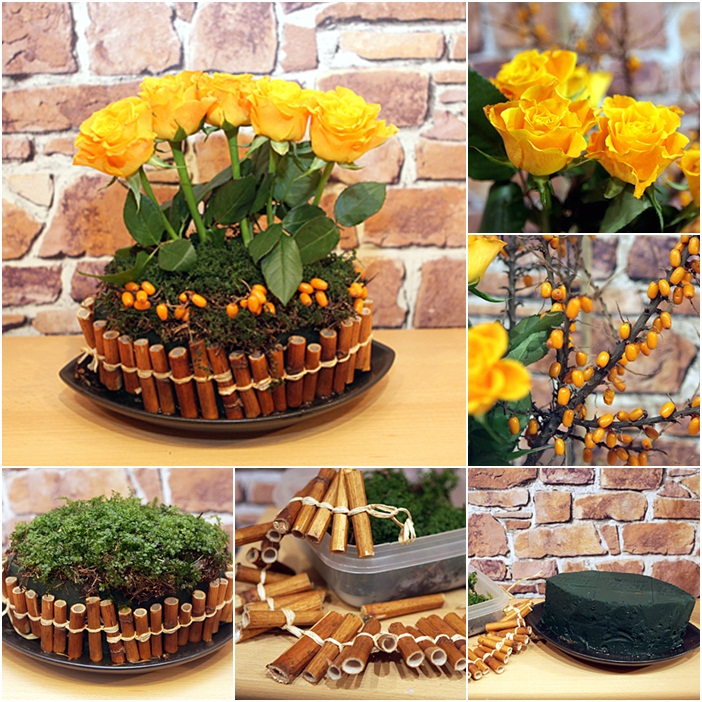 diy flower arrangement ideas yellow roses bamboo stalks rosehips