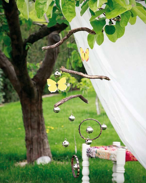 diy garden decor butterflies wind chymes bells twigs