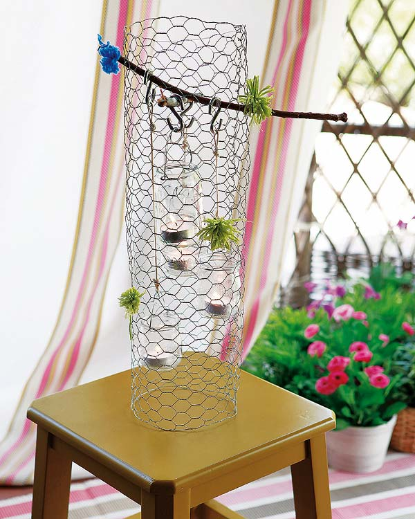 diy garden decorations tree fairy trap tea candles glass jars mesh