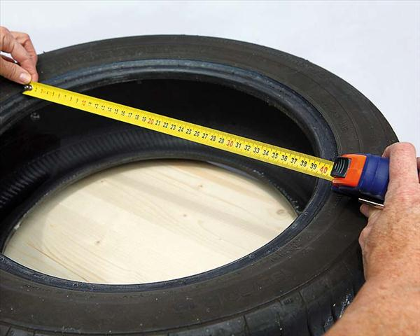 diy garden projects garden stool old tire measure