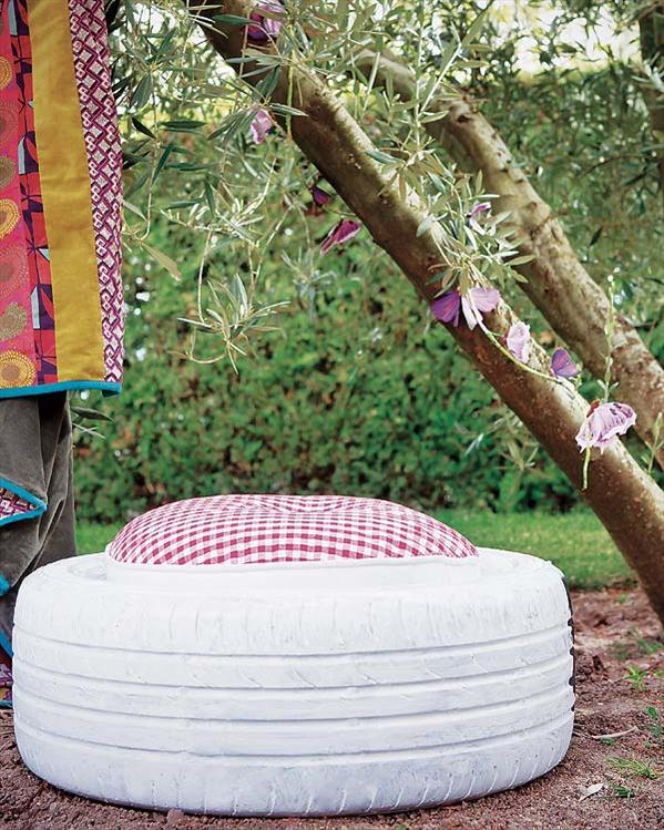 diy garden projects stool car tire cushion