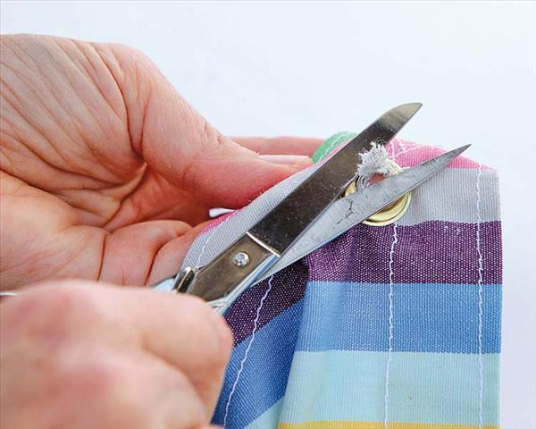 diy garden projects sewing shade cloth cut excess fabric eyelets