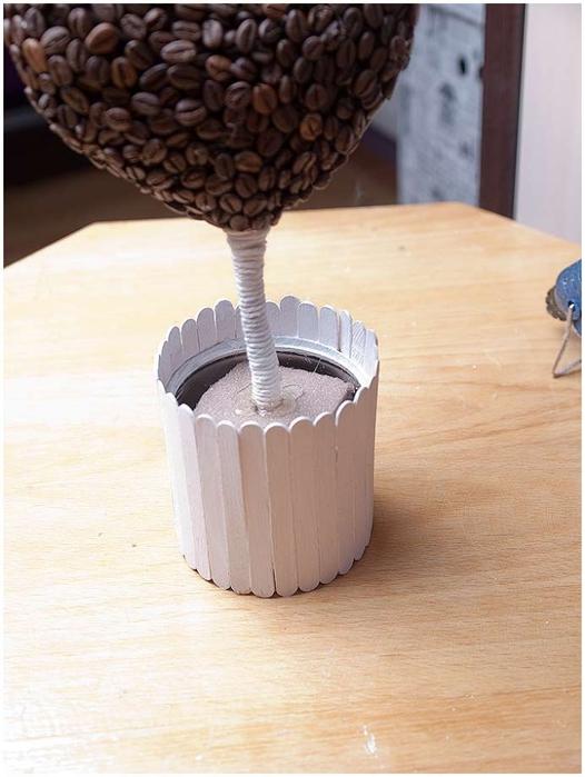 diy heart  topiary coffee beans pot wooden sticks