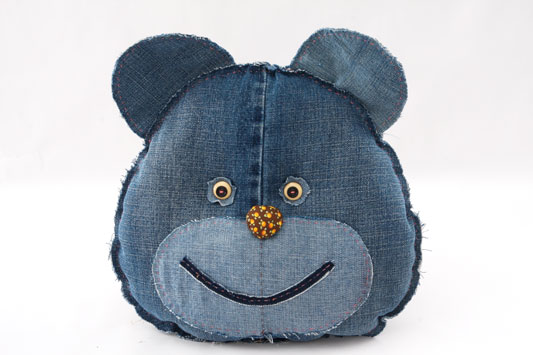 diy ideas denim cushions old jeans bear