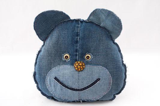 diy ideas denim cushions old jeans bear