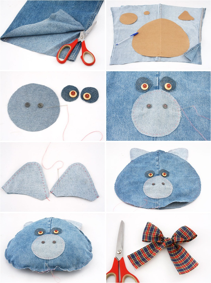 diy ideas denim pig pillows old jeans kids room