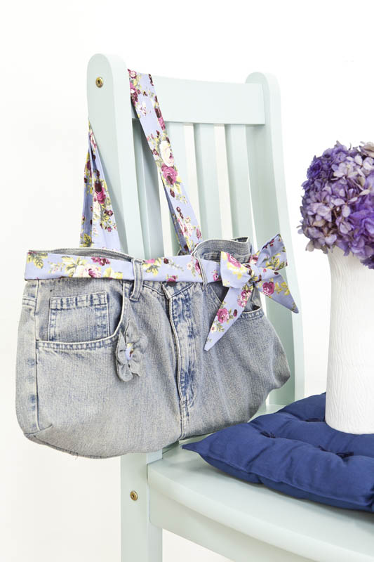 diy ideas recycling old jeans handbag fabric ribbon