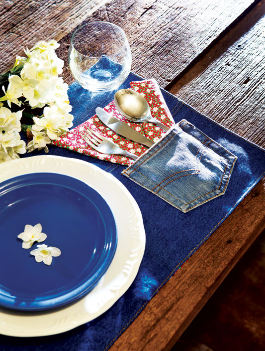 diy ideas repurpose old jeans place mat back pocket cutlery
