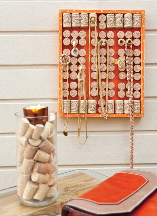 diy jewelry organizer ideas hanging necklaces wall corks