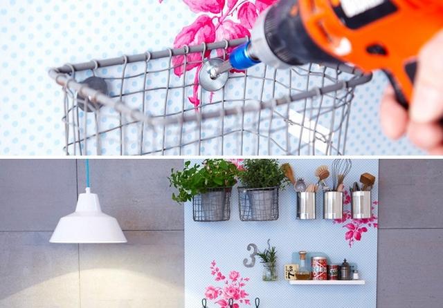 diy kitchen storage idea wall mounted tin cans wallpaper mdf board plants