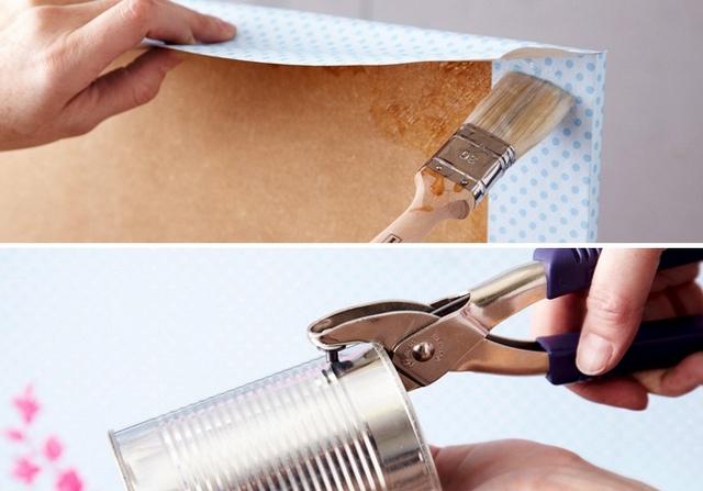diy kitchen storage utensils tin cans wallpaper mdf board plants