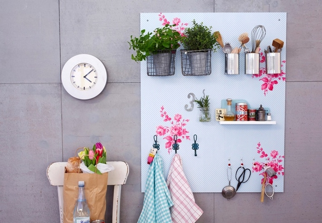 diy kitchen utensils storage wall mdf board tin cans decorative look