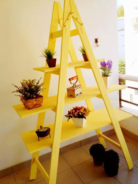 diy ladder shelf balcony flower stand bright yellow