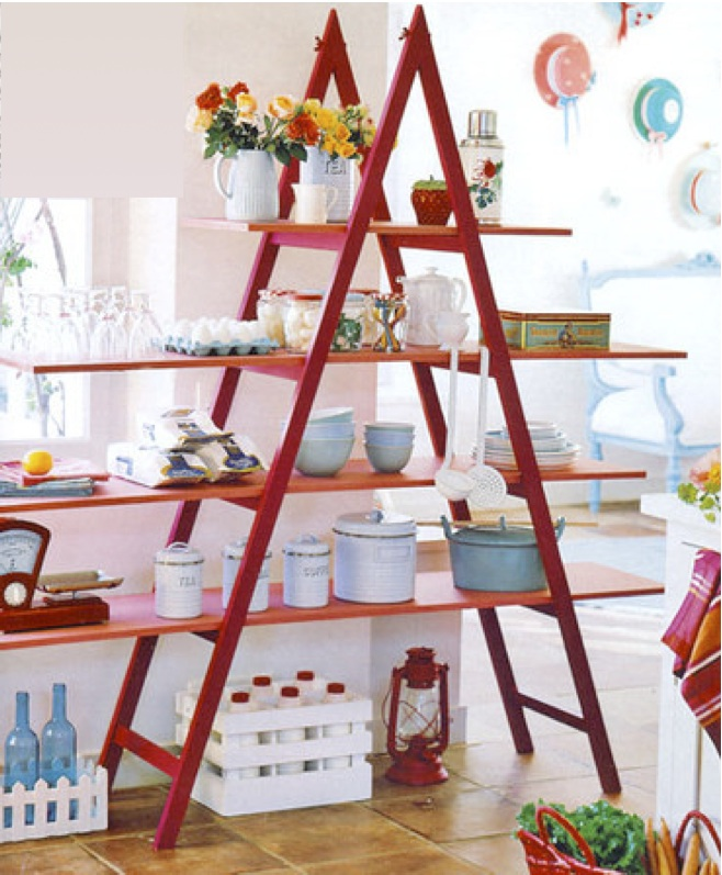 diy ladder shelf ideas kitchen storage tableware