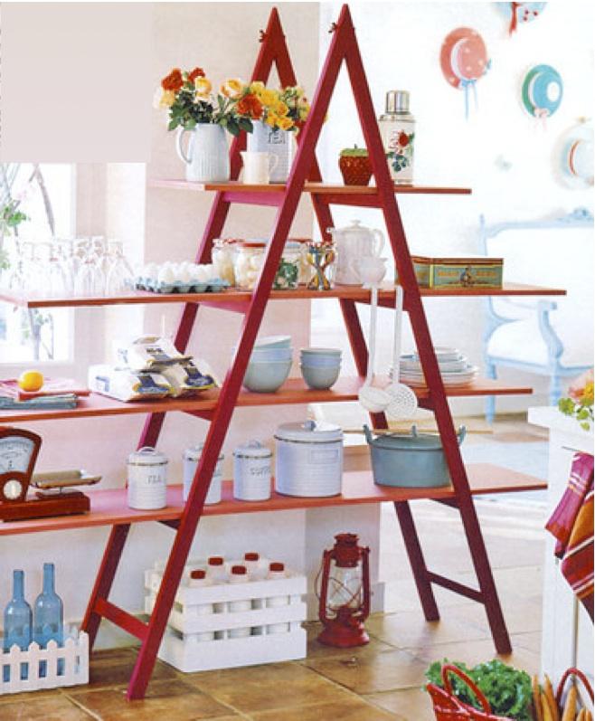 diy ladder shelf ideas kitchen storage tableware