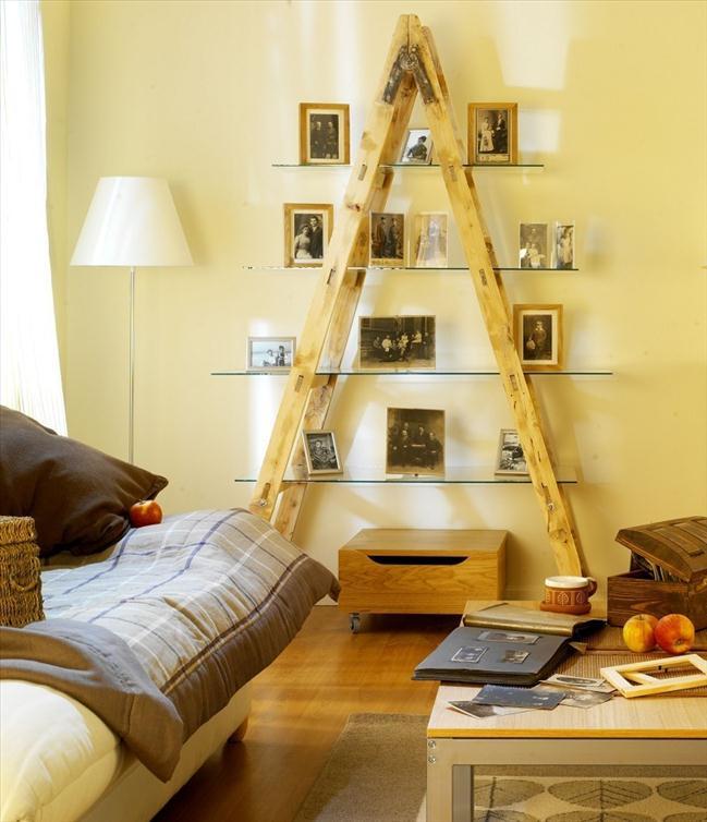 diy ladder shelf ideas living room glass panel