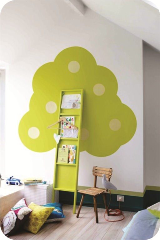 diy ladder shelf kids room bookshelf green