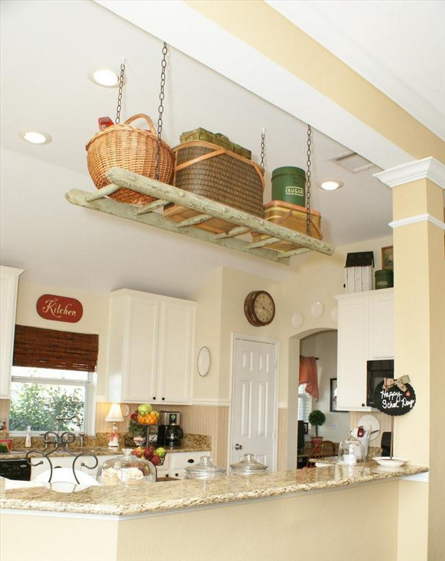 diy ladder shelf kitchen suspended ceiling storage small kitchen