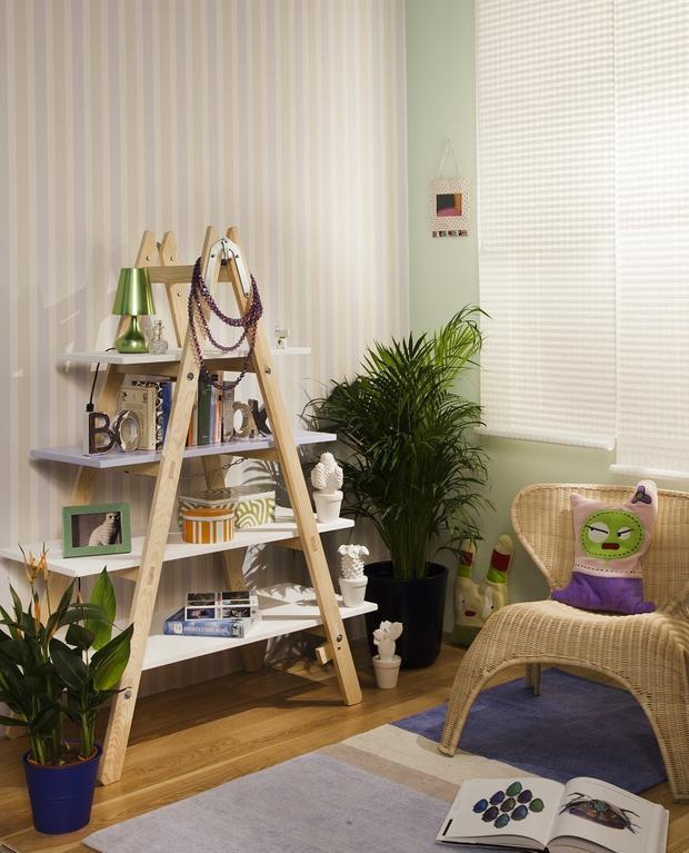 diy ladder shelf living room home decor photo frames