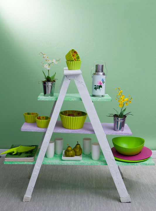 diy ladder shelf painted green kitchen storage