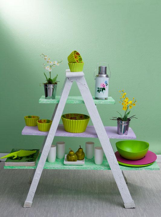 diy ladder shelf painted green kitchen storage