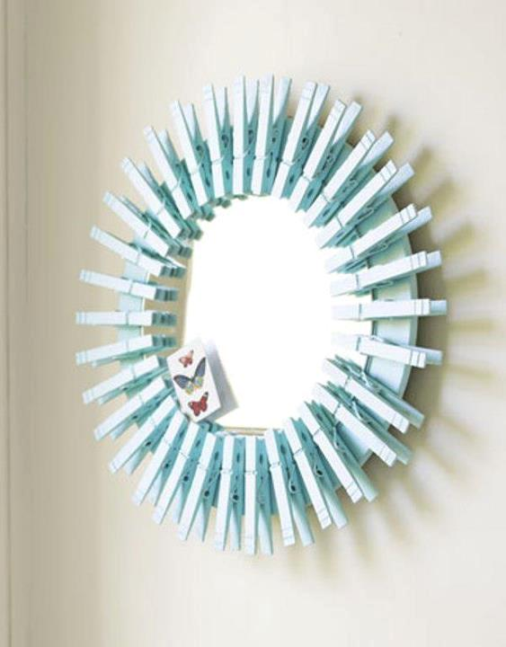 diy mirror frame clothespins decorating  idea