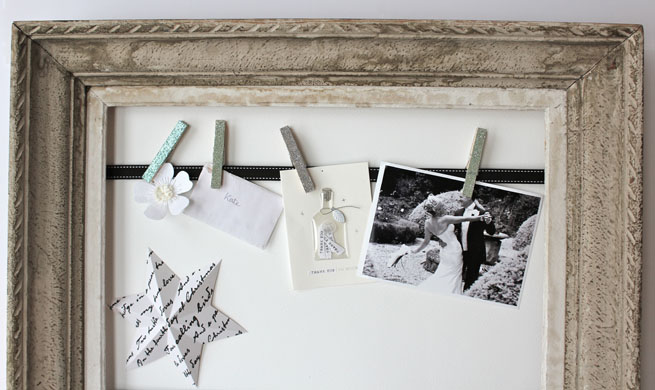 diy old mirror frame family photos clothespins