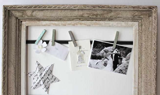 diy old mirror frame family photos clothespins